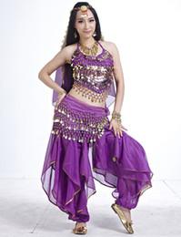 Wholesale Belly Dancing Costumes Blue - 5pcs set Woman's Belly Dance Suit ( Bra + Pants + Head Chain + Veil + Belt ) Stage Dance Costume tc103s5