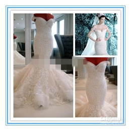 Wholesale Heavy Wedding Dresses - 2015 New Luxury Heavy Beading Pearls Mermaid Wedding Dress Off Shoulder Sexy Bridal Dress Sweep Train