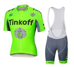 Wholesale Saxo Bank Tinkoff Bib Shorts - 2016 Tour De France Cycling Jerseys Tinkoff Saxo Bank Bike Wear Short sleeves tops+ white BIb Shorts Size XS-4XL Green fluo