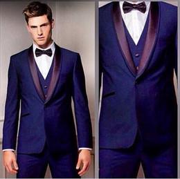 Escritório de calças roxas on-line-Roxo Do Noivo Smoking Personalizado Homens Terno Noivo Notch Lapela Groomsmen Melhor Homem Homens De Escritório Ternos De Casamento (Jacket + Pants + Tie + Vest)