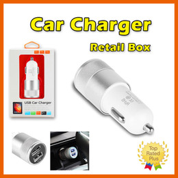 Wholesale Iphone S Usb - Car Chargers Dual USB Ports Universal Adapter For iPhone 7 4 5 SE 6 S PLUS Samsung S6 S7 Retail Package