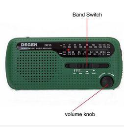 Wholesale Emergency Radio Degen - 1pcs Hotsale Degen Brand FM Radio DE13 FM MW SW Crank Dynamo Solar Emergency Radio World Receiver Quality VS Tecsun PL-310 Panda 6200