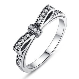 Wholesale celtic knot wedding - 100% 925 Silver Sparkling Bow Knot Stackable Ring Pandora Style Sterling Sliver Wedding Rings With Box Women Birthday Valentine's Day Gift