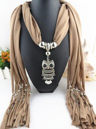 Wholesale Necklace Scarve - Fashion Oval Pendant Necklace Collares 2015 Brand New Charm Wrap Jewelry Scarf Silver Plated Necklace Owl pendant scarve For Women