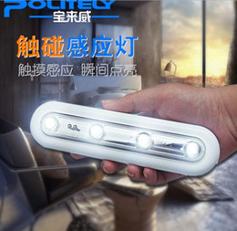 Wholesale Wireless Switches For Lights - 4LED Night Lights Energy-saving LED Light Lamp 4 super-high LED bulbs Wireless Battery Powered LED Touch Tap Night Light for Home Office