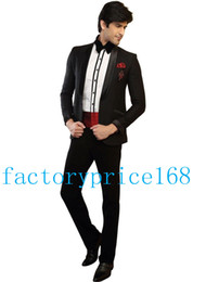 Wholesale Popular Girdles - Trendy Popular One Button Shawl Collar Black High quality Groom Tuxedos Bridegroom Suits Groomsman Suit (Jacket+Pants+Tie+Girdle) 19