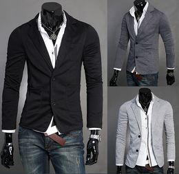 Wholesale Wool Short Dress - Man Leisure Blazers Men Male 2015 New Arrival Slim Fit Casual Suit Grey Black Blazer Dress Clothing M-2XL
