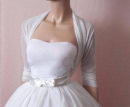 Wholesale Cheap Boleros - Cheap Simple White Bridal Jacket Chiffon Three Quarters Sleeves Ruffles Custom Made Wraps Wedding Bolero Cheap Bridal Wear Free Shipping