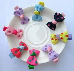 Wholesale Candy Clips - Girl Polka Dot Candy Color Barrette Duckbill Clip Children Hair Accessories 7 Colors 8054