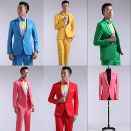 esmoquin verde azul Rebajas Al por mayor-juego de hombres trajes de manga larga de color rojo, amarillo, azul y verde, vestido NX41 presentado trajes de etiqueta teatrales para hombres de boda de baile
