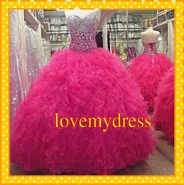 Wholesale Luxury Gold Sequins Evening Dress - 2018 Luxury Hot Pink Crystal Bodice Ball Gowns Quinceanera Dresses Tulle Ruffles Sweetheart Lace Up Back Sweet 16 Evening Formal Dress Gown