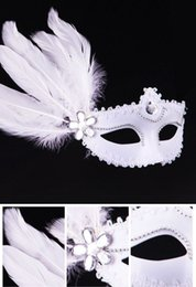 Wholesale Princess Paint - 2016 New Masquerade Mask performance show Runway Venice painting mask feather white beauty princess Christmas Halloween party DHL Free