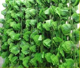 Plantas de hoja de uva artificial online-La uva artificial de los 2.5M 60pcs deja la vid de las plantas de vid de las uvas deja la rota de la decoración