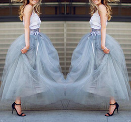 Wholesale Flooring Trim - Ankle Length Tulle Skirts Christmas Wear Floor Length Tutu Skirts With Ribbon Trim Bow Lace-up 2016 Spring Formal Party Skirts Beach Wear