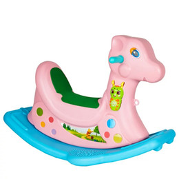 Wholesale Cheap Toy Horses - Rocking horse music large size thicken children toy Years present plastic poisonless and tasteless simple and cheap