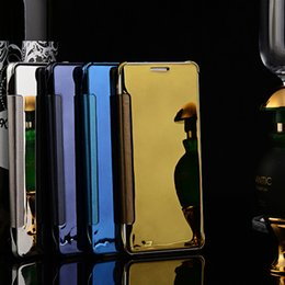 Wholesale Iphone 5s Leather Chrome Case - Mirror View Leather Chrome Flip Smart Case Electroplate Wallet Cover for iphone SE 5 5S 6 6S Plus Galaxy S7 Edge S6 edge Note 5 4 A9 100pcs
