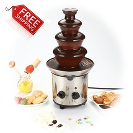 Wholesale Electric Chocolate Fondue Fountain - Chocolate Fountain Fondue Event Wedding Children Birthday Festive & Party Supplies Christmas Waterfall Machine A3