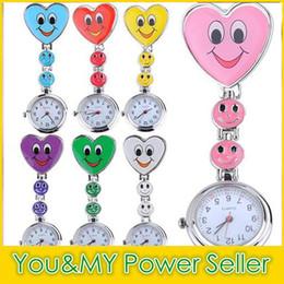 Wholesale Heart Stationary - Heart Shape Cartoon Smile Face Nurse Watch Clip On Fob Brooch Hanging Pocket Watch Fobwatch Nurse Medical Tunic Watch 50 pcs lot