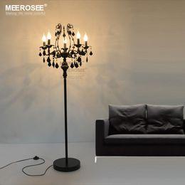 Wholesale Black Crystal Switch - Vintage 5 Lights Crystal Floor Lamp, Floor Stand Light Fixture Cristal Lustre de cristal Candelabra Standing Lamp Centerpiece
