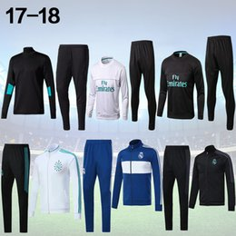 Wholesale track jogging suits - 17 18 Real Madrid Soccer Tracksuit Jacket Suit Track Suit 2017 2018 Ronaldo Jogging Football Tops Coat Pants Adults jacket Training kit