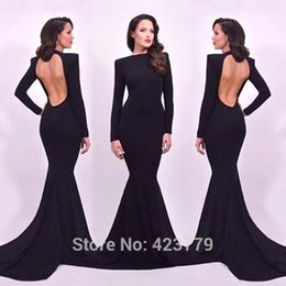 Wholesale Slimming Arabic Dress - Sexy Long Sleeves Hollow Back Mermaid Evening Dresses 2016 High High Slim Fitted Lon Prom Dresses Sweep Train Evening Gowns Arabic BA1861
