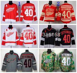 rot grau hockey jersey Rabatt Großhandel # 40 Henrik Zetterberg Winter Classic Jersey Detroit Red Wings Eishockeytrikots Charcoal Cross Check Grau Rot Weiß