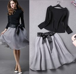 Wholesale Knitted Tutu Tops - 2 Piece Set Women Skirt Top 2017 Autumn New Fashion Slash Collar Black Blouse + Bow Mesh Gray Tutu Skirt Clothing Two Piece Dress 4077