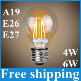 Wholesale 6w Led Equivalent - Led Bulbs A19 Edison Glass Lamp 4W 6W E27 B22 E26 A60 Warm Cool White AC110V 220V Equivalent to 60W Led Globe Light