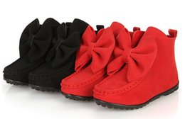 Princesa de goma online-2015 AutumnSpring Girl's Bowknot Boots Flat Children Princess Shoes Caucho Inferior Fashion Martin boots Kids Casual Boots Kids Calzado breve