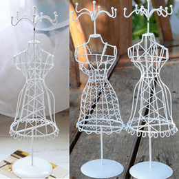 Wholesale Mannequin Jewelry Stands - Wholesale-Metal Mannequin Rack Holder Christmas Charms Girl Present Vintage Earring Ring Necklace Jewelry Doll Display Stand