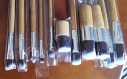 Wholesale Bamboo Blush Brush - Dropshipping 11Pcs Makeup Brushes Cosmetics Tools Natural Bamboo Handle Eyeshadow Cosmetic Makeup Brush Set Blush Soft Brushes Kit With Bag