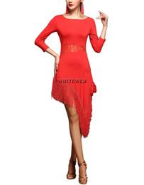 Wholesale Tango Dance Wear - 3 4 Sleeve Xmas Salsa Dance Performance Practice Wear Costumes Dress Recital wear Modern Lace Fringe Salsa Latin Tango