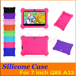 "Wholesale Tablet Covers Inch Rubber - Anti Dust Kids Child Soft Silicone Rubber Gel Case Cover For 7"" 7 Inch Q88 Q8 A33 A23 Android Tablet pc MID Free shipping 100 colorful"