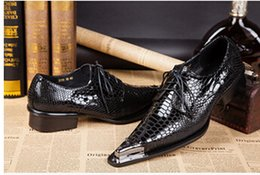 Wholesale Tenis Dresses - Hot!High Quality 2014 Metal Pointed Toe Men Dress Shoes,Snake Pattern Men Shoes,Fashion Tenis Masculino Genuine Leather Sapatos