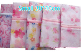 Wholesale Bras Washing Bag - Free Ship 100pcs Small 30*40cm Flower Printed Bra Clothes Laundry bag Washing Machine Nylon Net Mesh Hosiery Lingerie Zipper