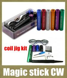plantilla de bobina de bobina de atomizador Rebajas 2015 Atomizer Coil Jig Magic stick CW Micro Coil Wick Jig E cigarrillo 6in1 Juego de máquina herramienta para RDA Coil Ecig Winding FJ142