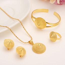 14k brazaletes online-14k Sólido Fino Collar de oro lleno Collar colgantes Pendientes Anillo Brazalete Conjunto Eretrian Abisinia africana Conjunto de joyas antiguas