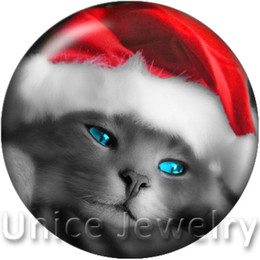 Wholesale Xmas Sale Jewelry - AD1301038 12 18 20mm Snap On Charms for Bracelet Necklace Hot Sale DIY Findings Glass Snap Buttons Jewelry Xmas Cat Hat Design noosa