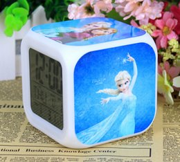 Wholesale Night Glow Clock - frozen Retail And New LED 7 Colors Change Digital Alarm Clock Frozen Anna and Elsa Thermometer Night Colorful Glowing Clock