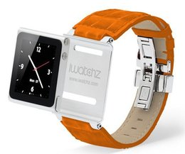 Wholesale Iwatchz Wrist - Wholesale-Hot! Luxury Soft Genuine Leather Wrist Watch Band Cover For iPod Nano 6 Case Iwatchz Wrist Strap For Nano 6 Free Shipping