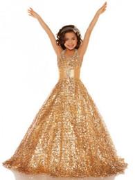 Wholesale Glamorous Days - 2017 Charming Sequin Princess Gold Pageant Dress Halter Sleeveless Floor Length New Glamorous Satin Flower Girl Dresses