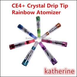 Wholesale Ce4 Crystal Atomizer - CE4 Plus CE4+ Atomizer Clearomizer Crystal Drip Tip Rebuildable Cartomizer for eGo Series eGo-T eGo-K eGo-Q Battery Rainbow Colorful Tank
