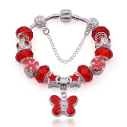 Wholesale Silver Butterfly Dangle Beads - Fashion Style Charm Bracelets with Murano Glass Beads & Butterfly Dangle Charms Snake Chain Bangle Bracelets for Women BL025