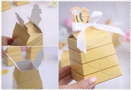 Wholesale Bees Lighting - 50PCS Yellow Honey Bee Wedding Baby Shower Birthday Party Favor Creative Graphics Gift Box Candy Boxes Favors