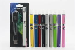 Wholesale Kanger Evod Silver - New Evod MT3 Blister Kit Electronic Cigarette MT3 atomizer 650mAh 900mAh 1100mAh Evod Logo Battery E Cigarettes 10 Colors DHL Free