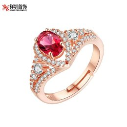 Wholesale Red Corundum - Free shipping Ms. Diamond Ring Titanium Steel Rose Ring Natural Red Corundum Ring Ruby ring the Ring Can Adjust the Size Rose Gold