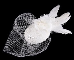 Wholesale White Bridal Top Hat - Free Shipping In Stock Top Selling White Tulle Birdcage Bridal Hats Crystals Flower Feathers Fascinator Bride Wedding Party Hats Face Veils