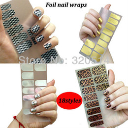 Wholesale Nail Foil Self Adhesive - 32SheetsFashion Smooth Foil Nail Art Wraps Stickers Minx Beauty Self Adhesive Nail Patch Decals Free Shipping