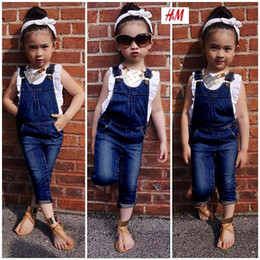 Wholesale Suspender Jeans Kids - Children Set Girl Dress Summer White T Shirts + Denim Suspender Jeans Girl Suit Kids Clothing 6 sets 1 lot C001