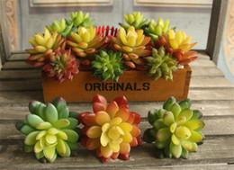 """Wholesale Plastic Bouquet - Real Touch Plastic Succulent Plants 11cm 4.33"""" Length Artificial Flowers Conjoined Stone Lotus for DIY Wedding Bridal Bouquet Accessories"""